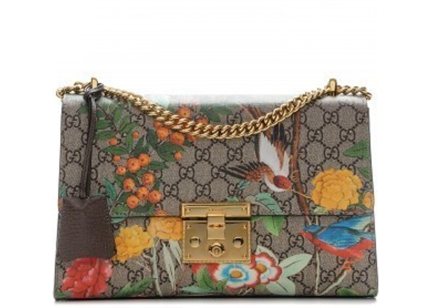 34277afc4e4 Gucci Padlock Shoulder GG Supreme Monogram Tian Print Medium ...