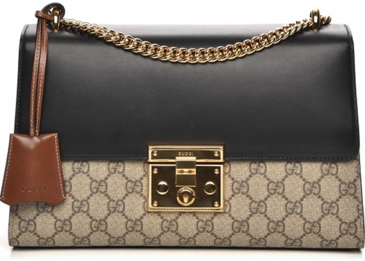 56d3ad3afe5b5f Gucci Padlock Shoulder Monogram GG Supreme Medium Beige/Black. Monogram GG  Supreme Medium Beige/Black