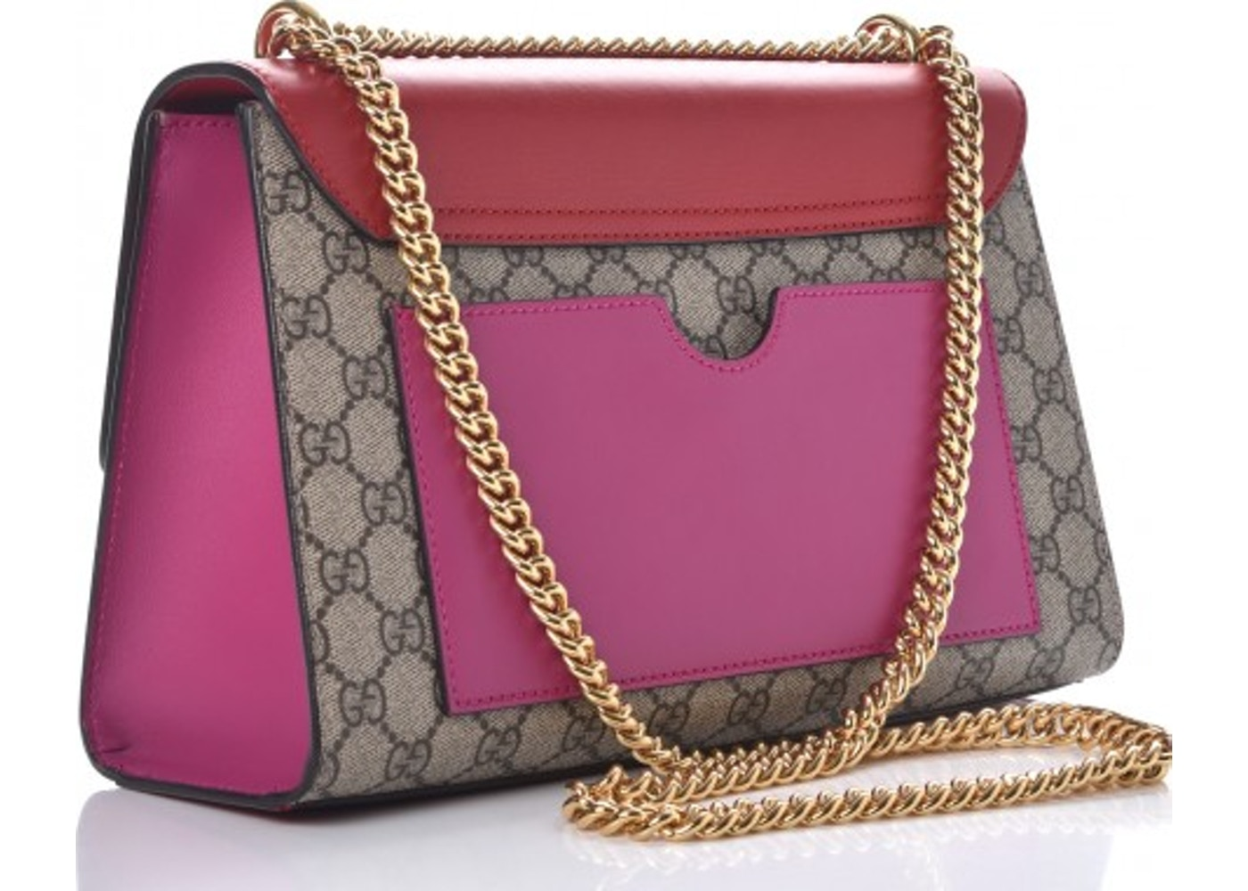 b34e1d95b2f9 Gucci Padlock Monogram GG Supreme Multicolor Medium Hibiscus Pink/Red/Brown