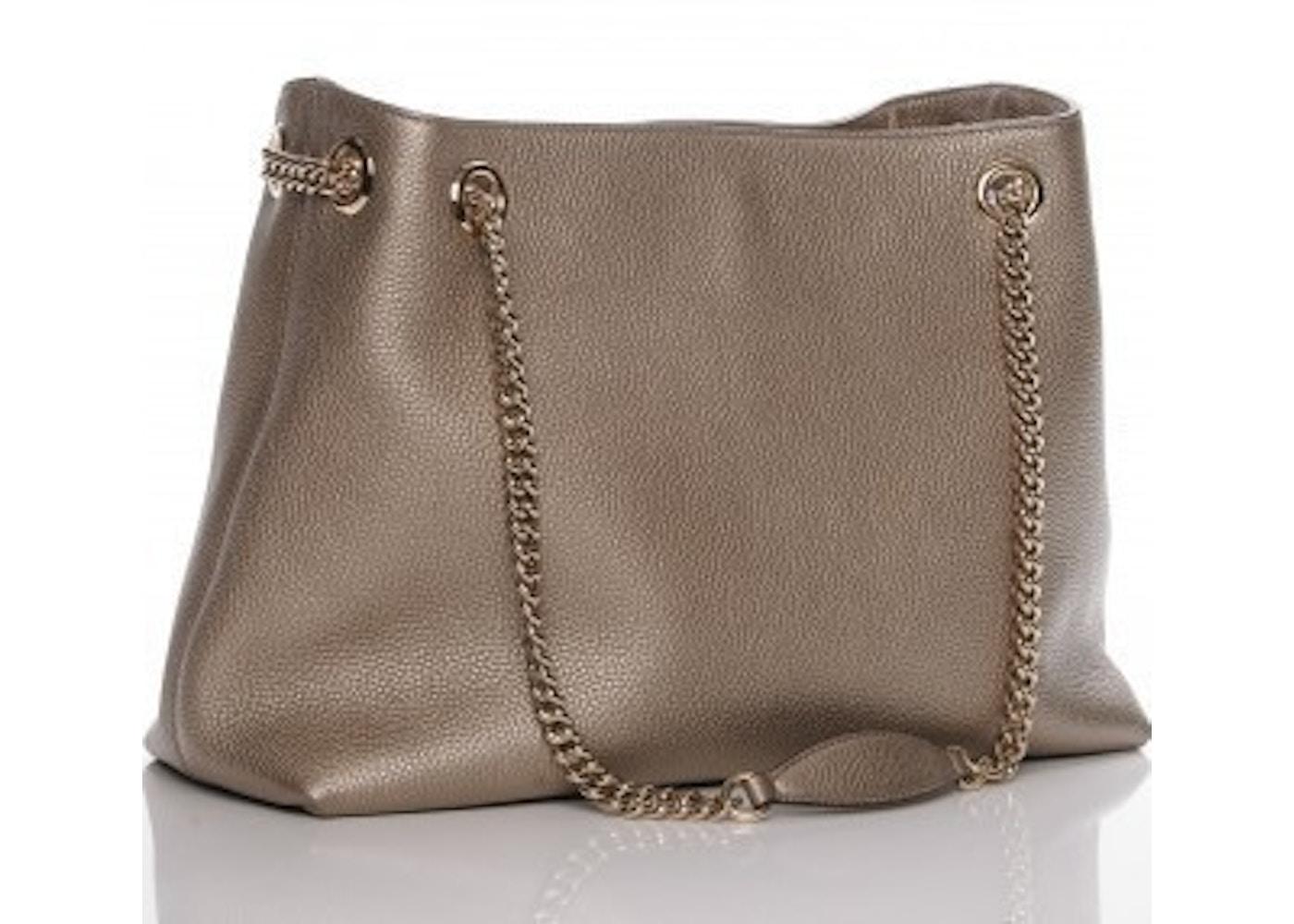 15938d709258 Gucci Soho Shoulder GG Interlocking Tassel Medium Metallic Golden Beige