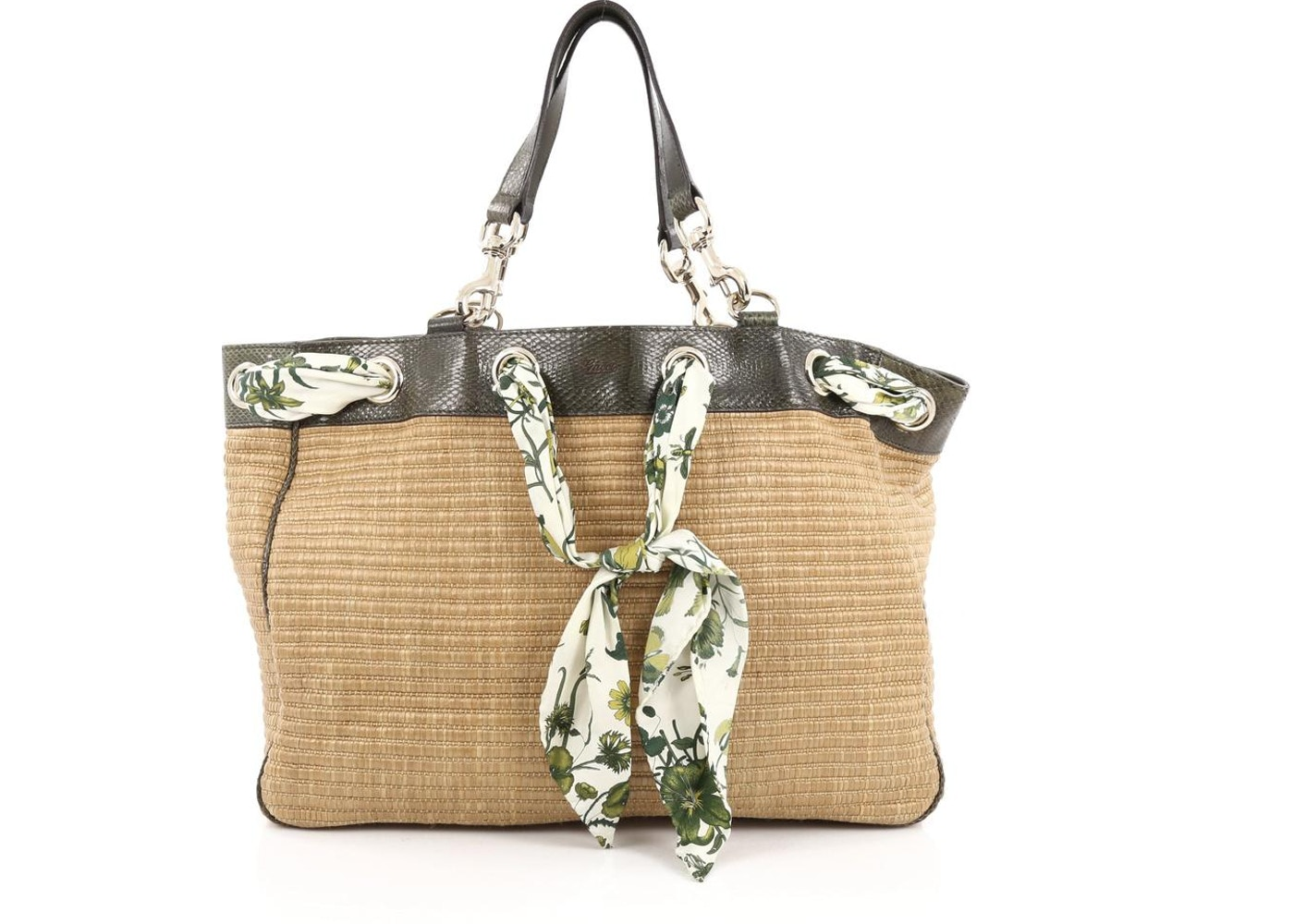 c05f3d9dc22 Gucci Positano Tote GG Scarf Interlaced at the Top Large Brown Green. GG  Scarf Interlaced at the Top Large Brown Green