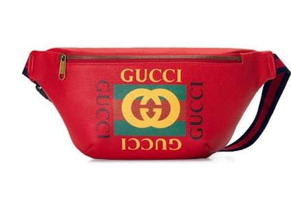 543fdc1e0f0d Gucci Print Belt Bag Retro GG Logo Leather Hibiscus Red