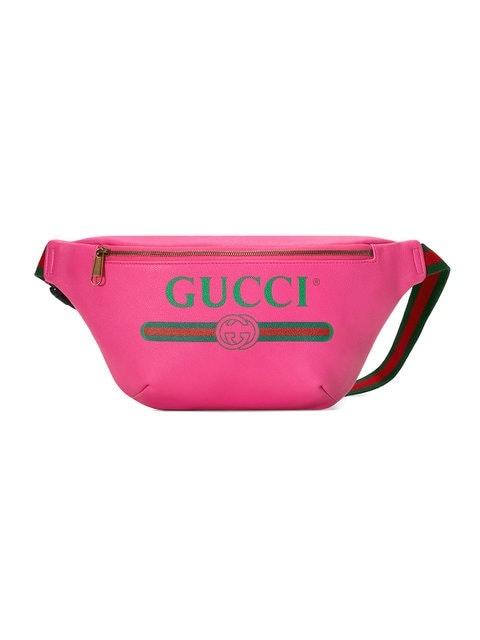 Gucci Print Belt Bag Vintage Logo Small Pink