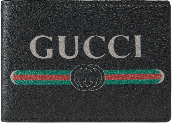 c54ef874290c Gucci Print Bifold Wallet Textured Leather (4 Card Slots) Black
