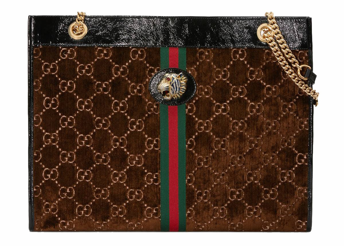 Gucci Rajah Tote Velvet Large Brown/Beige