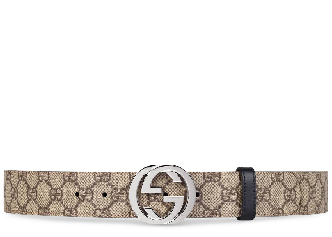 Gucci Reversible Belt GG Supreme Palladium Interlocking G Buckle 1.5 W Brown/Black