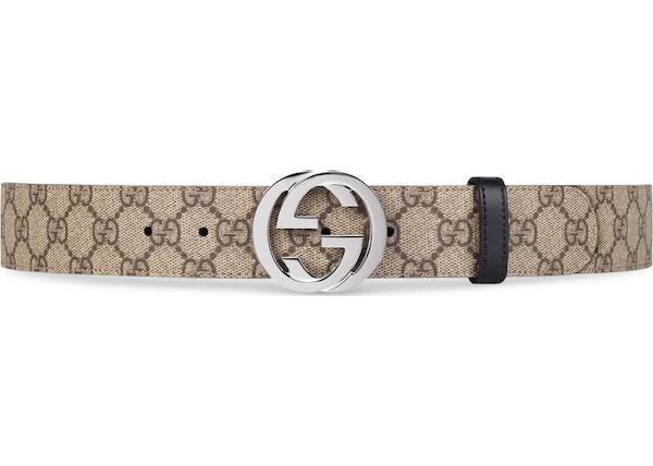 3fcf42c1b29 Gucci Reversible Belt GG Supreme Palladium Interlocking G Buckle 1.5 W  Brown/Black