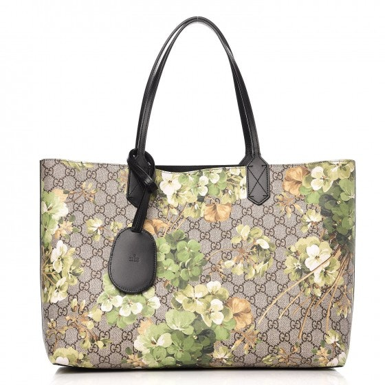 Gucci Reversible Tote Monogram GG Supreme Blooms Print Medium Green