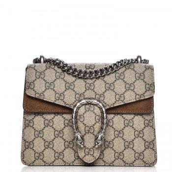 Gucci Dionysus Shoulder Bag GG supreme Monogram Horseshoe Tiger Spur Mini Taupe