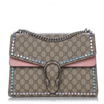 Gucci Dionysus Shoulder GG Supreme Monogram Crystal Pink
