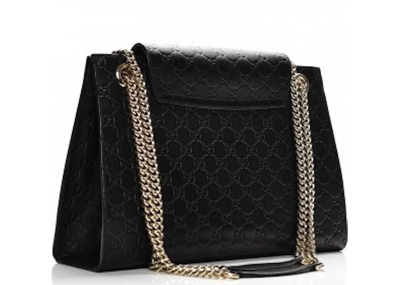e7975d3001b Gucci Emily Chain Shoulder Bag Guccissima Large Black