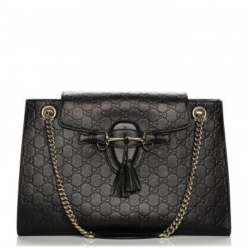 Gucci Emily Chain Shoulder Bag Guccissima Monogram  Black