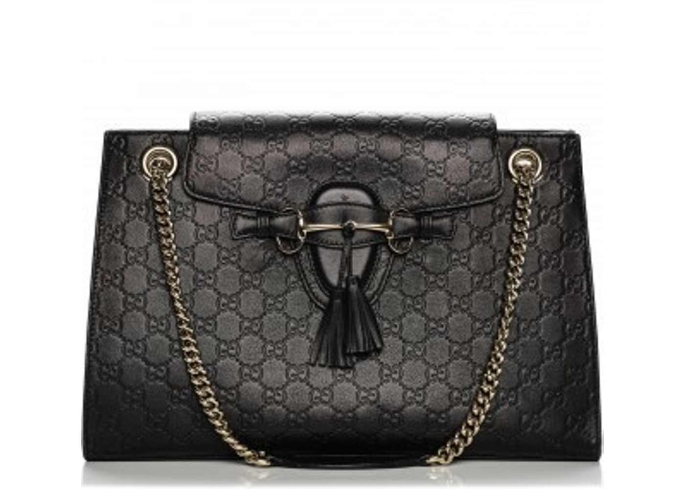 c64daf0d804a0e Gucci Emily Chain Shoulder Bag Guccissima Large Black. Guccissima Large  Black