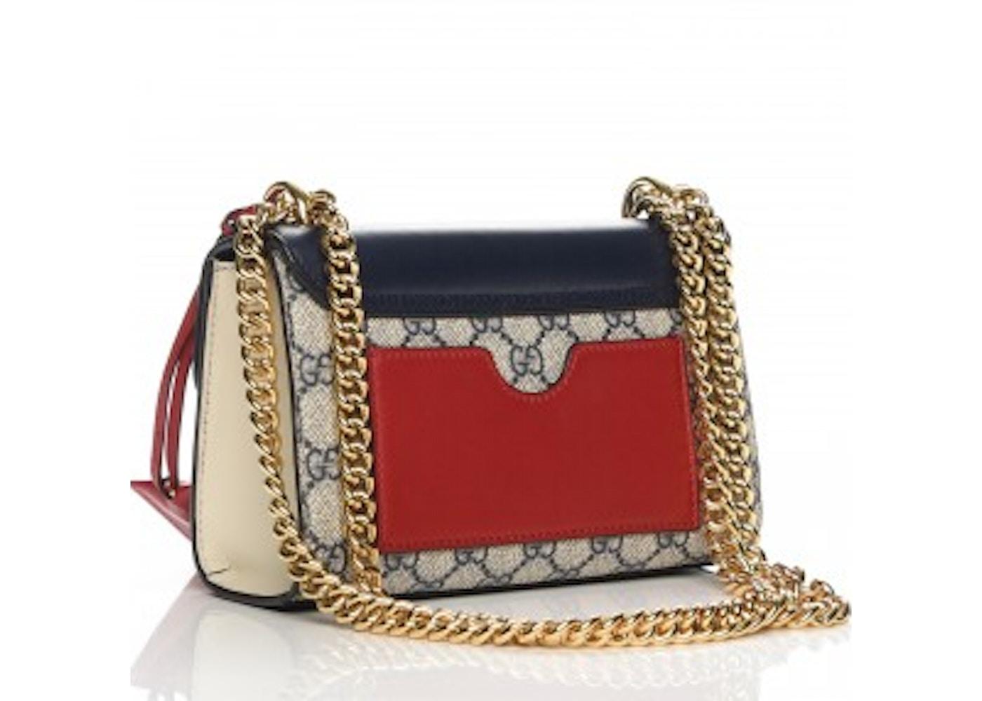 5177912a Gucci Padlock Shoulder Bag GG Supreme Monogram Push Lock Closure Open Small  Navy/Beige/Red