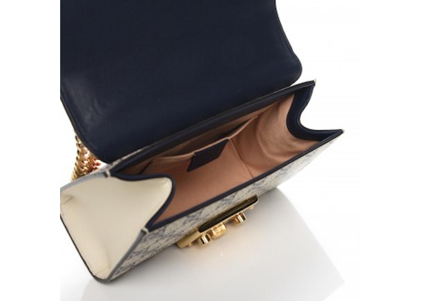 8245350002c4 Gucci Padlock Shoulder Bag GG Supreme Monogram Push Lock Closure Open Small  Navy Beige Red
