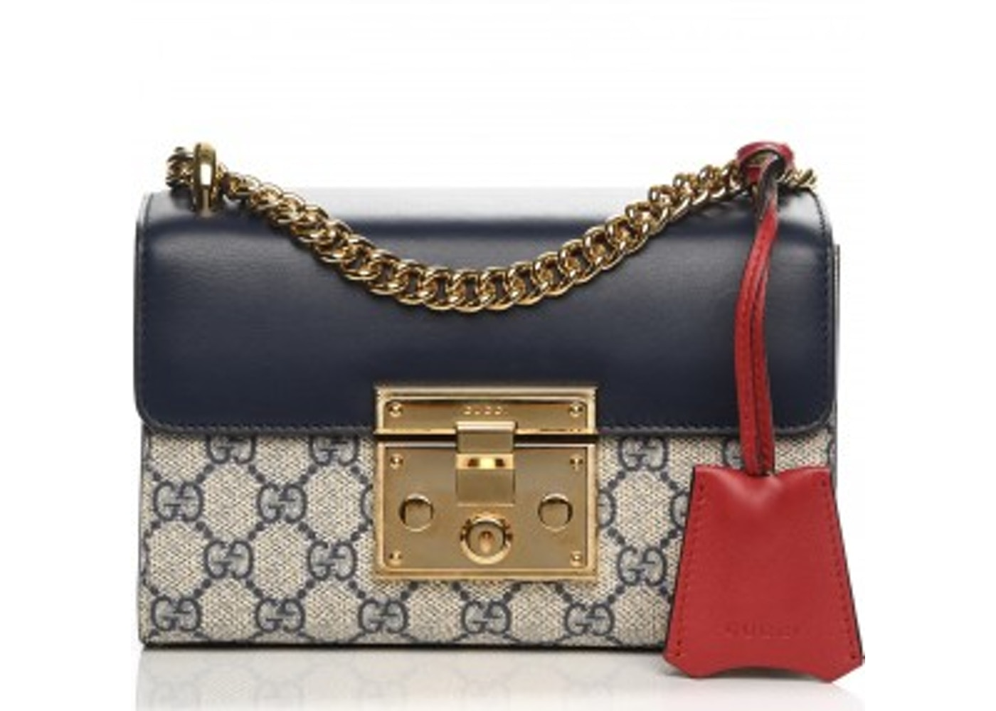 231081516 Gucci Padlock Shoulder Bag GG Supreme Monogram Push Lock Closure Open Small  Navy/Beige/Red