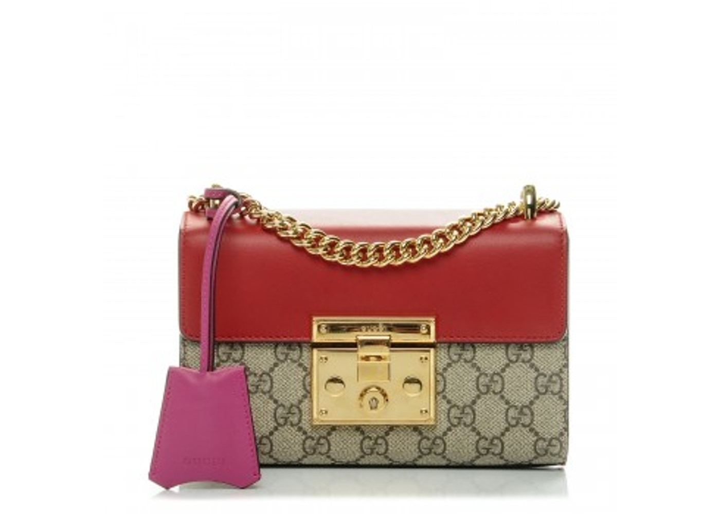 4a2afeb5 Gucci Padlock Shoulder Bag GG Supreme Monogram Push Lock Closure Open Small