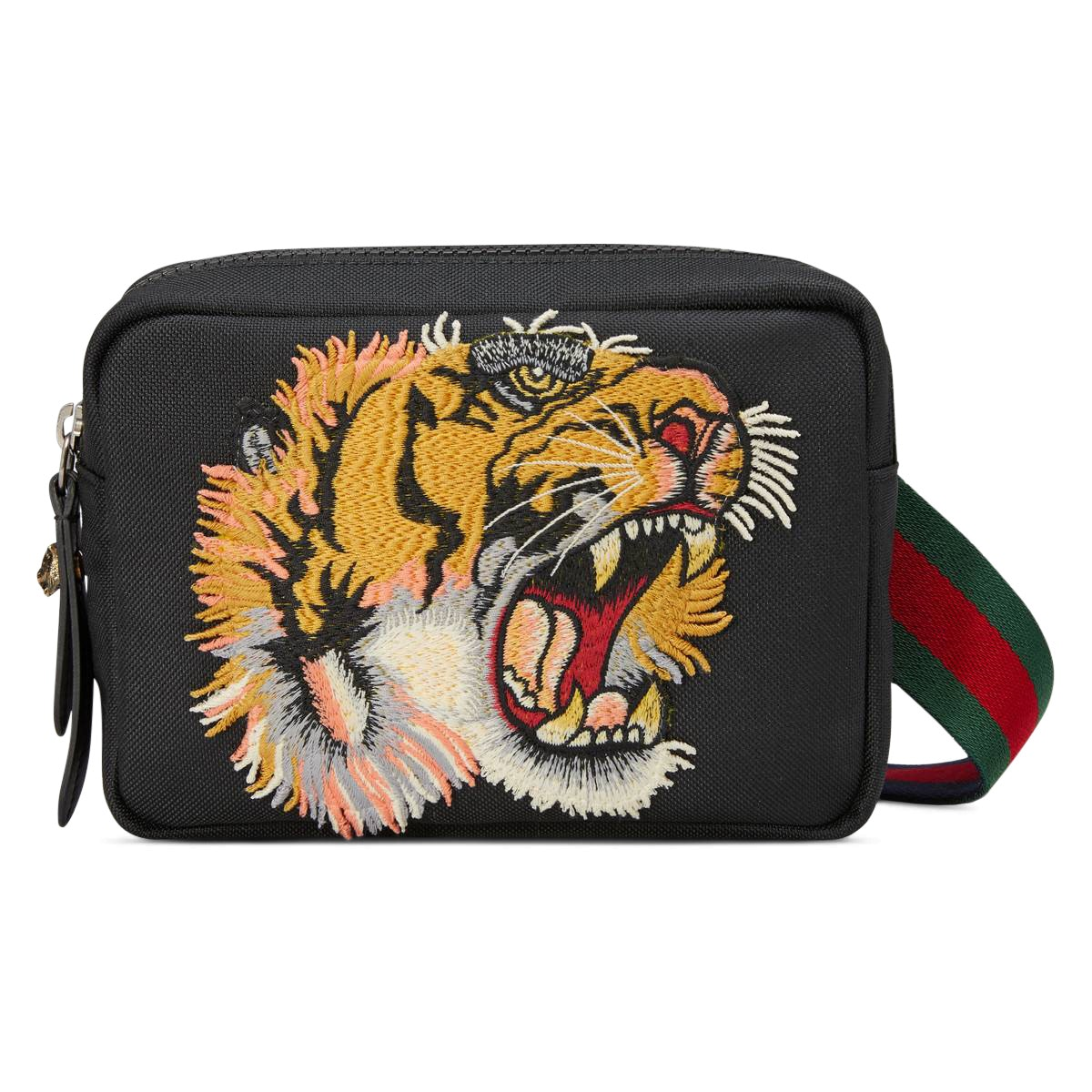 Gucci Shoulder Bag Panther Face Applique Black
