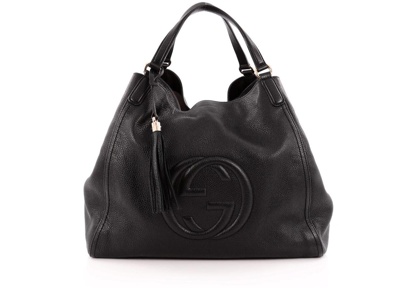 6a96d592d4f2 Gucci Pebbled Calfskin Medium Soho Messenger Bag Black 96417