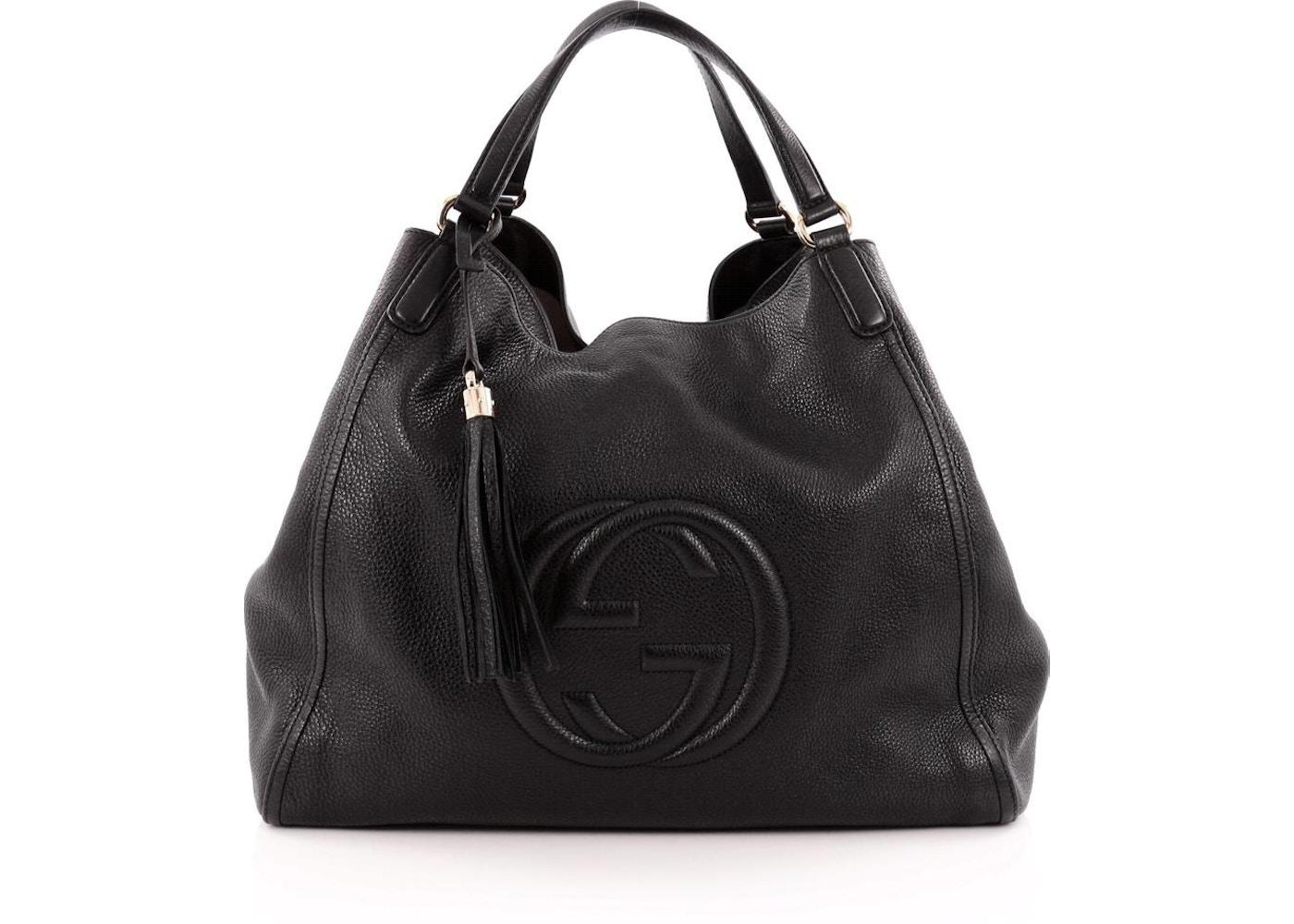 eb0b7ef4f0448e Gucci Soho Shoulder Bag GG Interlocking GG Logo Stitched Large ...