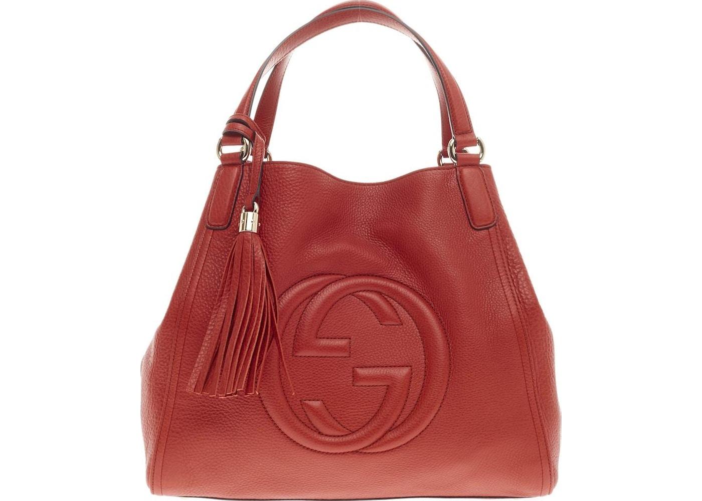 b40993ddf9a534 Gucci Soho Shoulder GG Interlocking GG Logo Stitched Medium Red ...