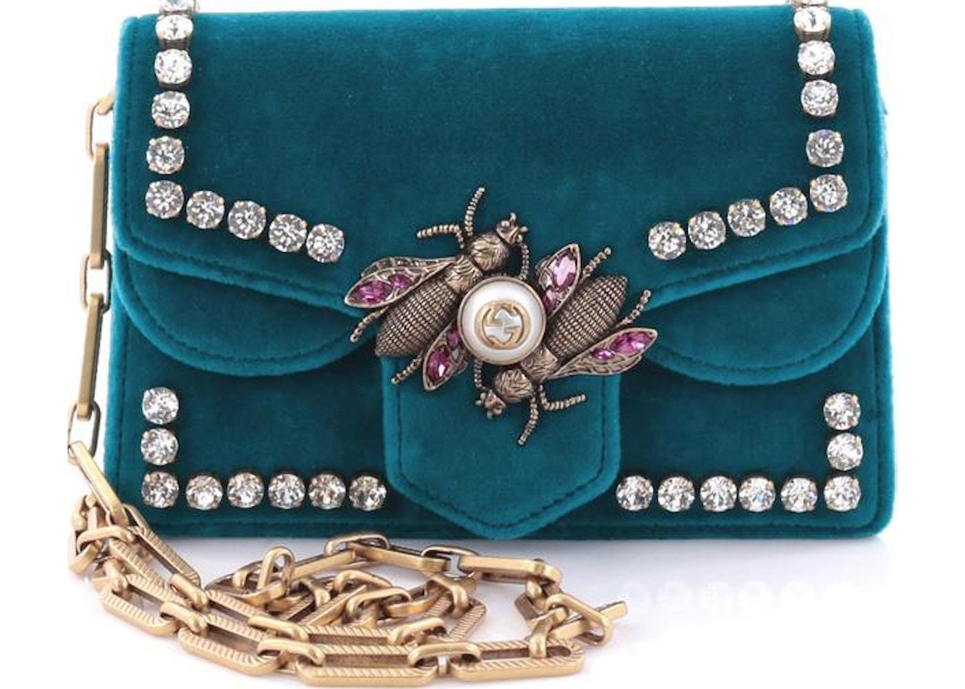 870545924a02 Gucci Broadway Shoulder Bag Pearly Bee Mini Teal. Pearly Bee Mini Teal