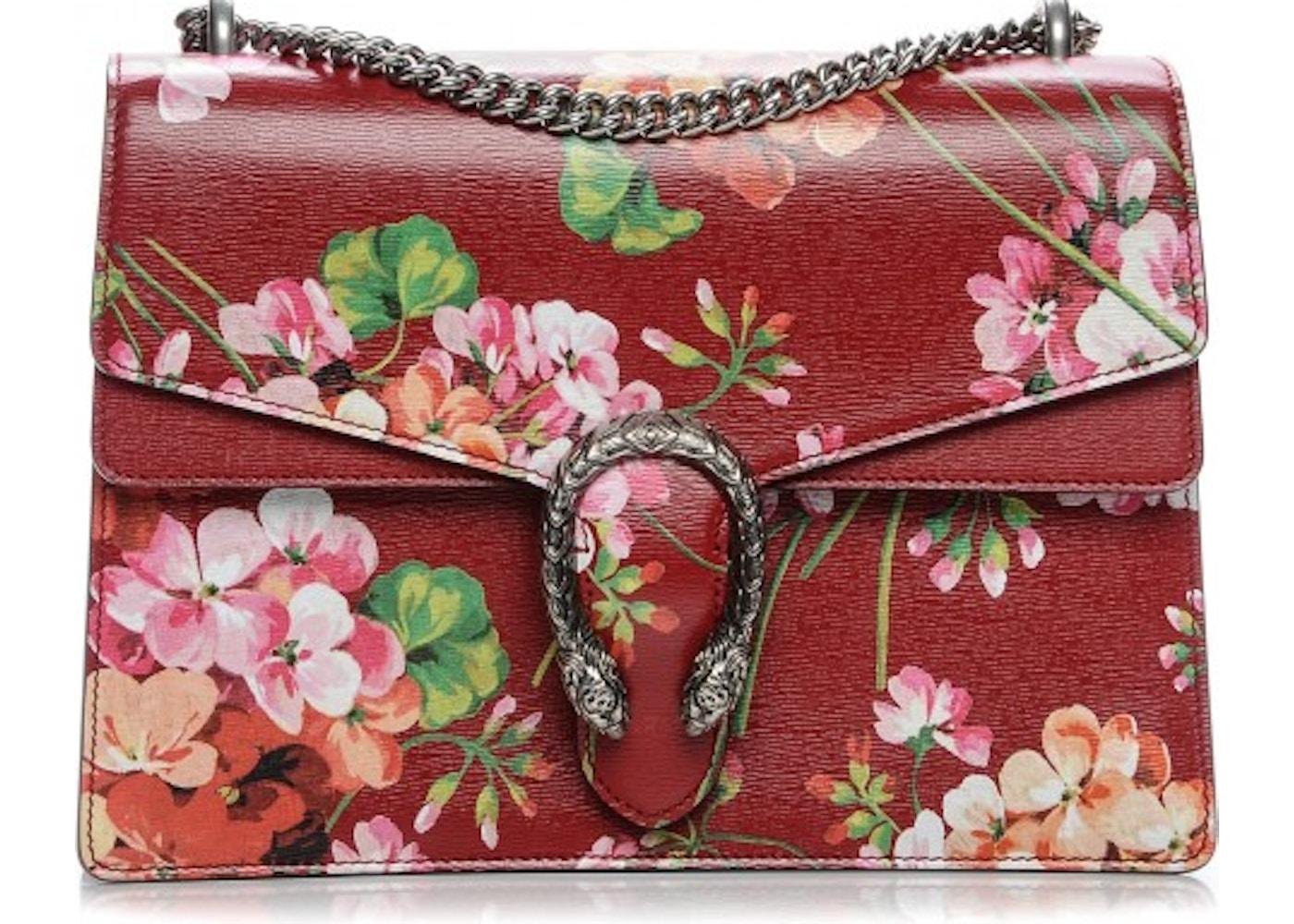 6e9fb31c96f Gucci Dionysus Shoulder Bag Blooms Medium Red Green Pink