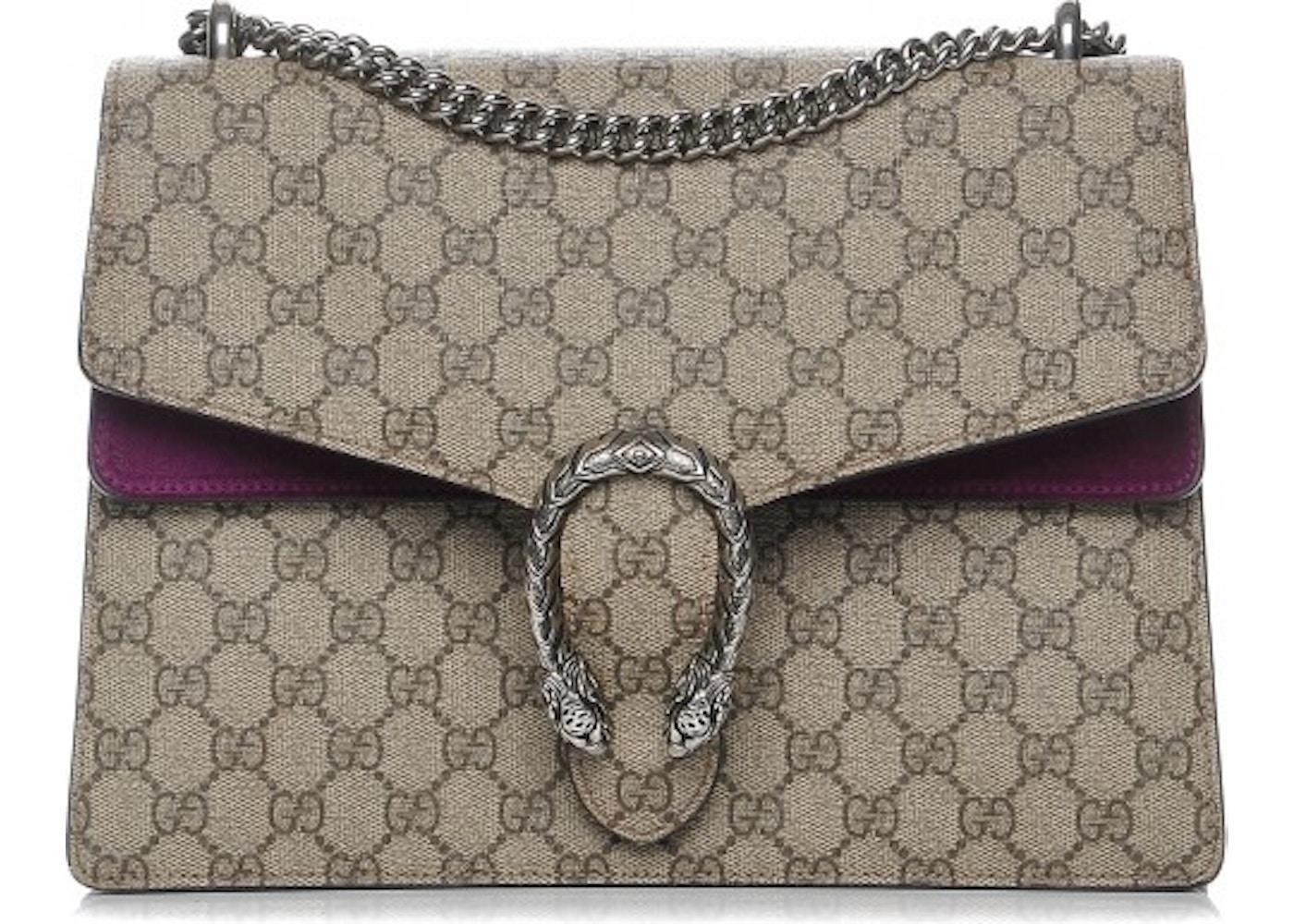 9b62d5b0838 Gucci Dionysus Shoulder Bag Monogram GG Medium Taupe Beige Purple. Monogram  GG Medium Taupe Beige Purple