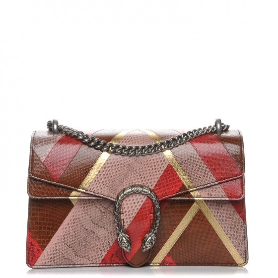 Gucci Dionysus Shoulder Bag Chevron Small Pink/Brown/Gold/Red