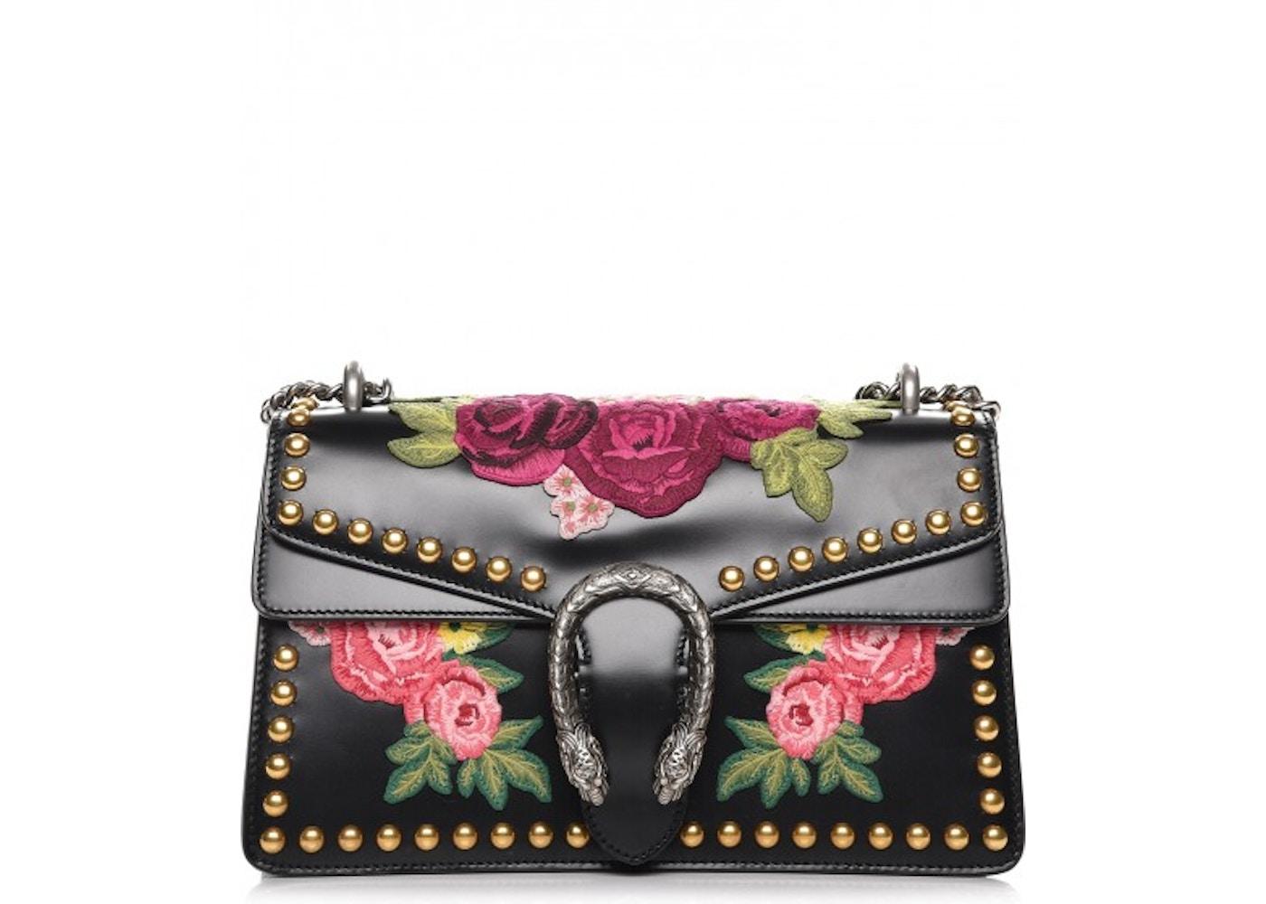 e219113e8e0 Gucci Dionysus Shoulder Flower Embroidered Studded Small Black. Flower  Embroidered Studded Small Black