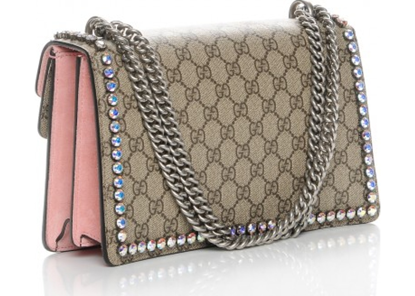 77c83b6e4cd Gucci Dionysus Shoulder Bag Monogram GG Supreme Crystal Small Brown Beige  Pink