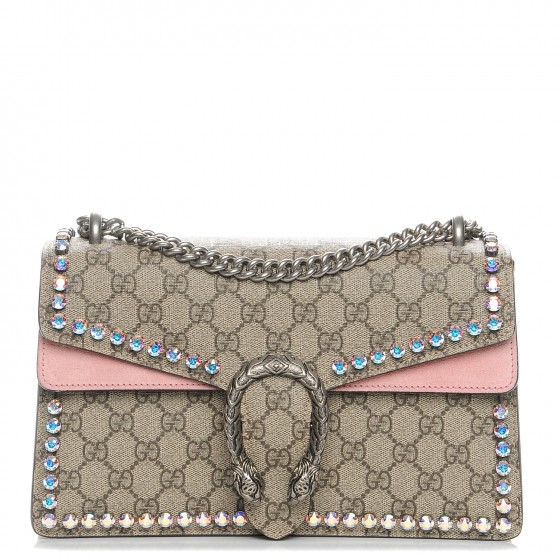 Gucci Dionysus Small GG Supreme Shoulder Bag with Bow & Crystals