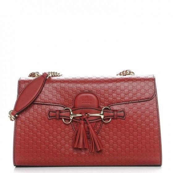 Gucci Emily Shoulder Bag Monogram Microguccissima Medium Red