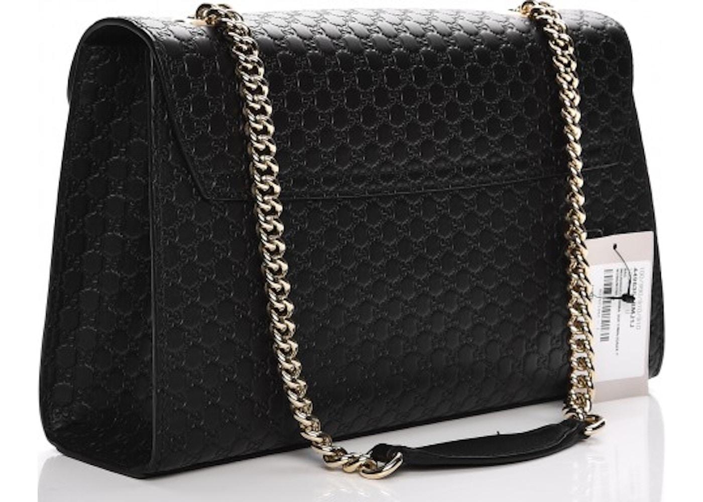 3492b7de9f6b Gucci Emily Chain Shoulder Bag Monogram Microguccissima Black
