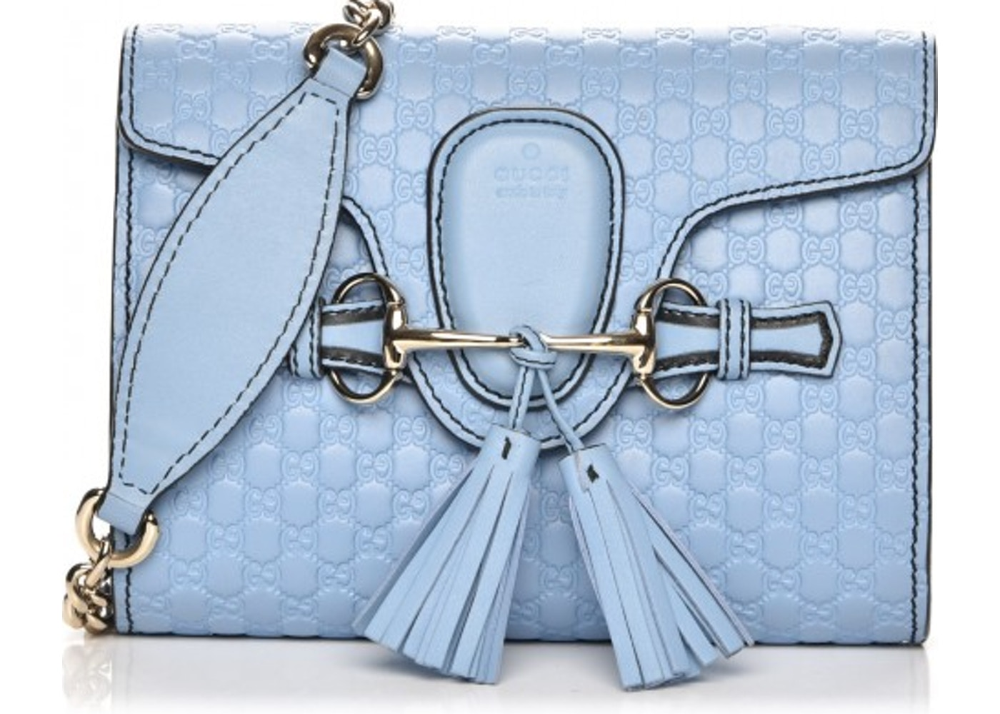 90835a8bf781 Gucci Emily Flap Shoulder Bag Monogram Microguccissima Mini Light Blue.  Monogram Microguccissima Mini Light Blue