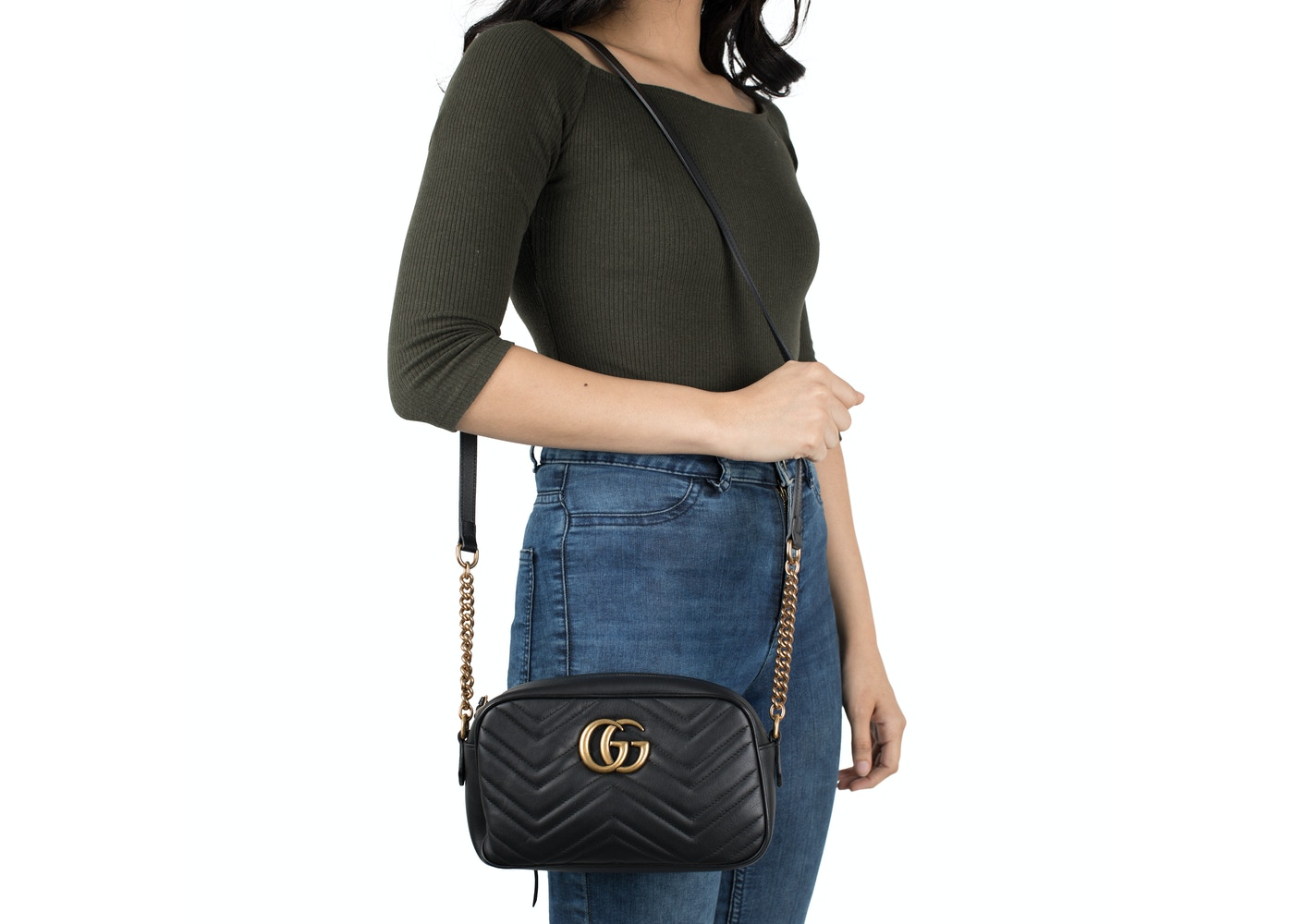 Gucci Gg Marmont Camera Bag Matelasse Small Black