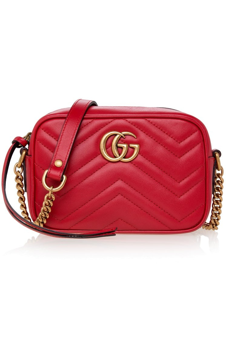Gucci GG Marmont Shoulder Matelasse Small Hibiscus Red