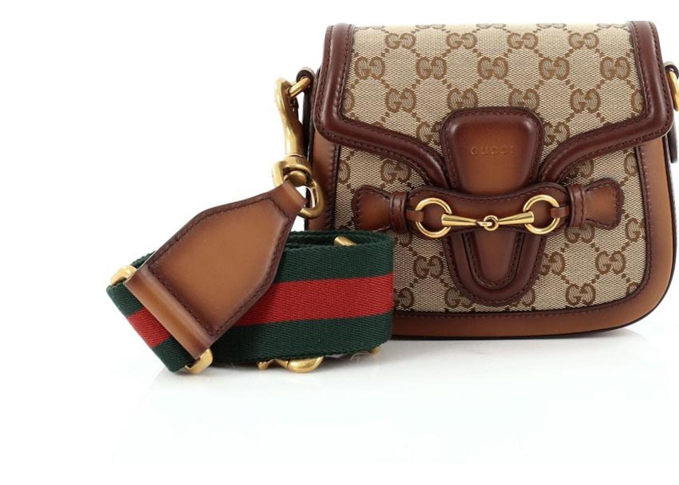 e40b55c065d Gucci Lady Web Shoulder Bag Monogram GG Small Brown Beige ...