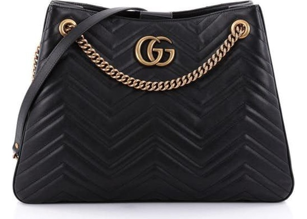 6fbc12c46b71 Gucci Marmont Chain Shoulder Bag Matelasse Black