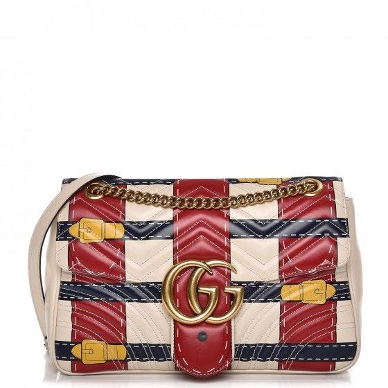 Gucci Marmont GG Matelasse Trompe L'Oeil Medium White/Red/Blue