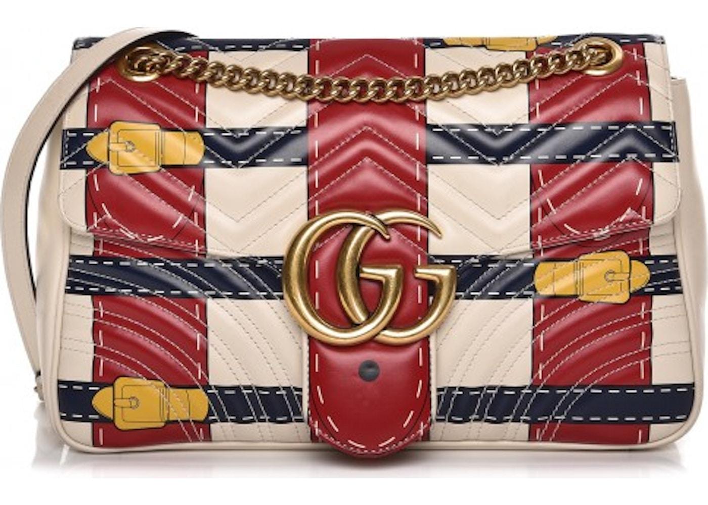 55900f2b6e7 Gucci Marmont GG Matelasse Trompe L Oeil Medium White Red Blue