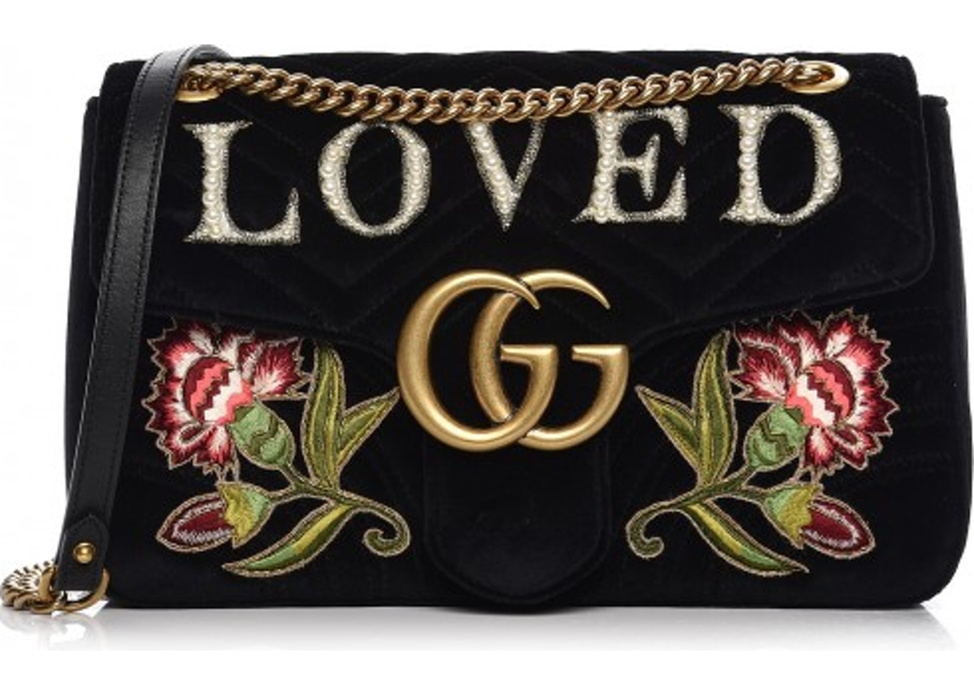 3575a0678203 Gucci Marmont Shoulder Bag Embroidered Medium Black Multicolor. Embroidered  Medium Black Multicolor