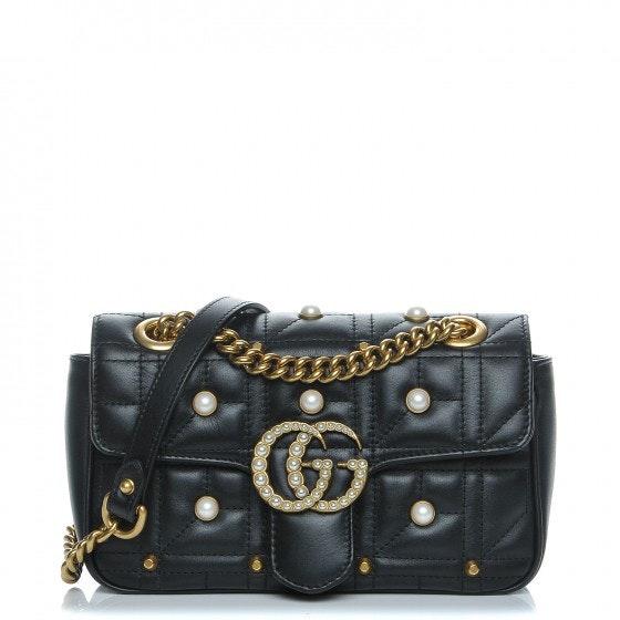 Gucci Marmont Shoulder Bag Matelasse GG Pearly Mini Black