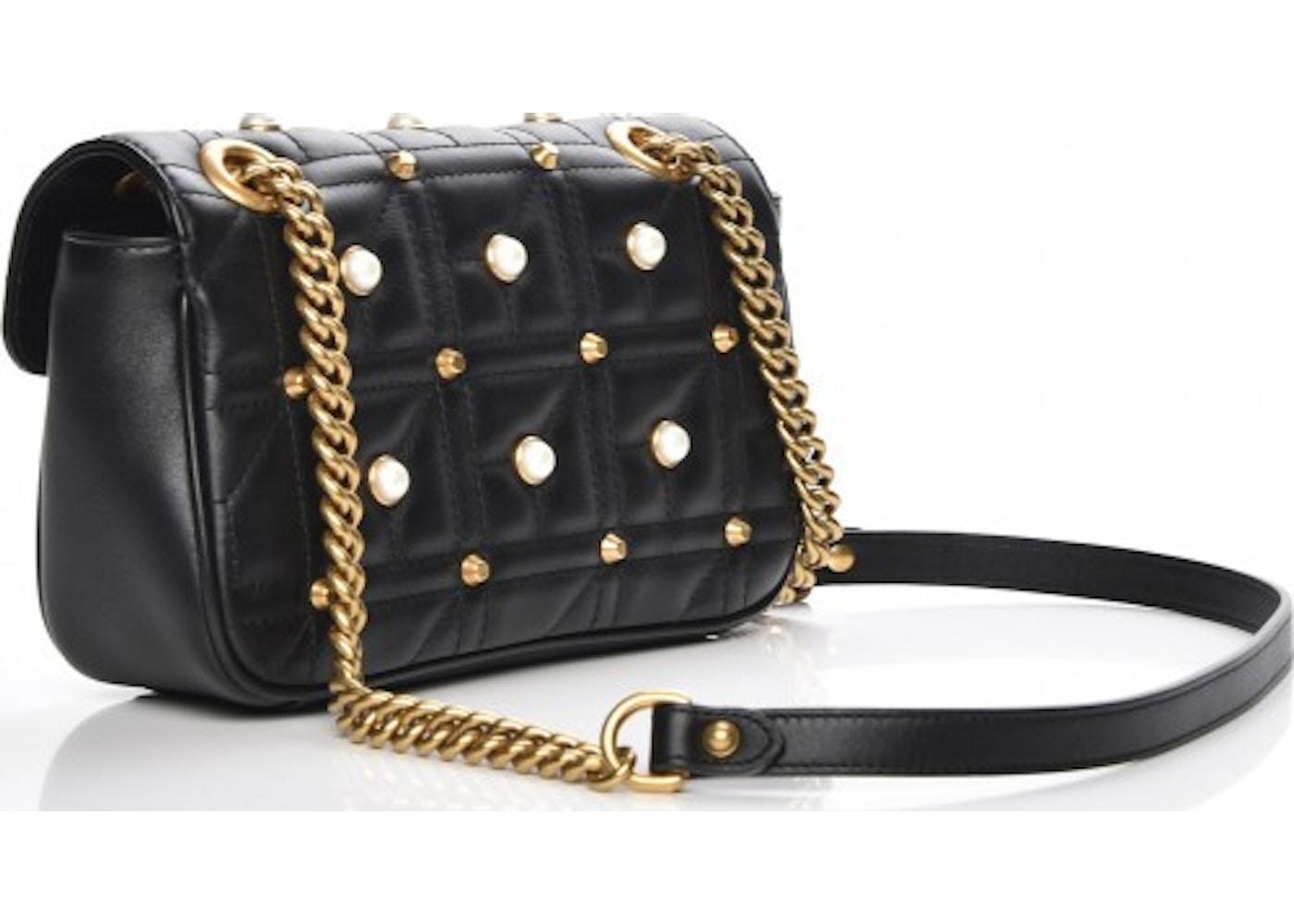 e28f8c83a2bdbe Gucci Marmont Shoulder Bag Matelasse Pearl Studded Mini Black