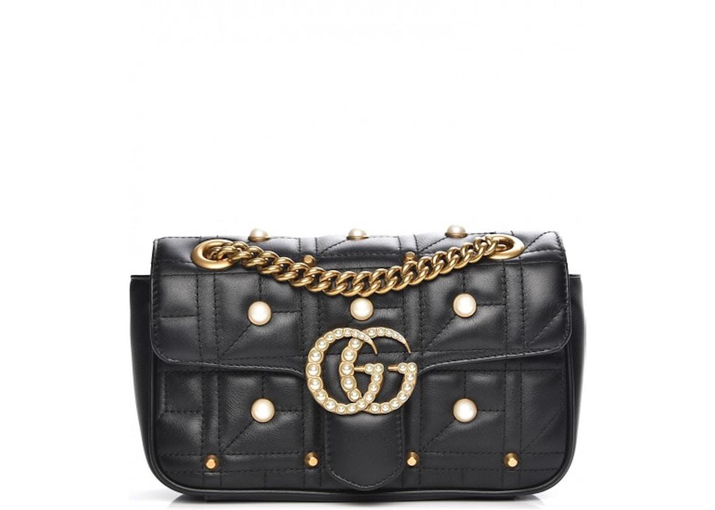 7684ddbdcaf3 Gucci Marmont Shoulder Bag Matelasse Pearl Studded Mini Black. Matelasse  Pearl Studded Mini Black