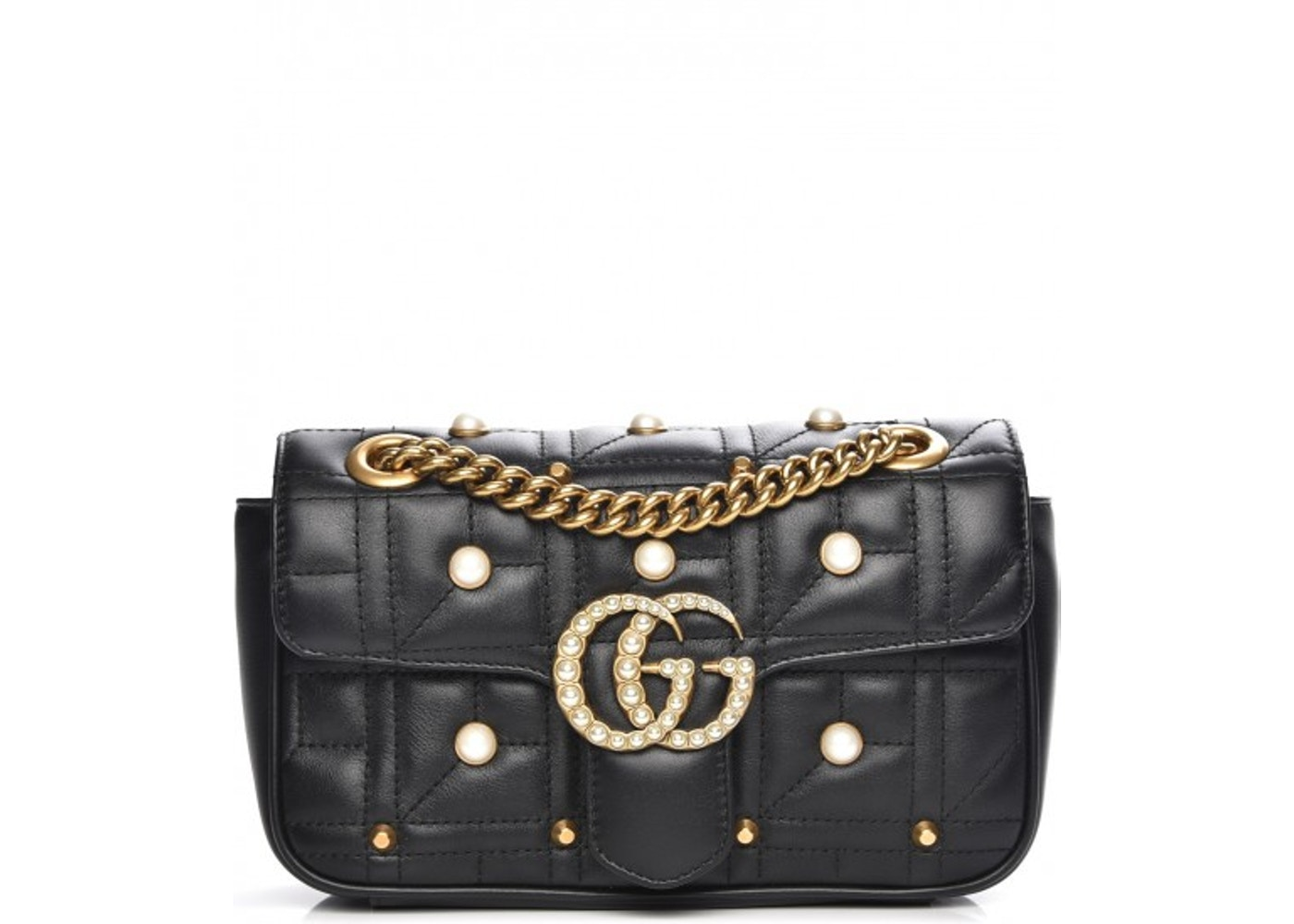 b3b6c23886e Gucci Marmont Shoulder Bag Matelasse Pearl Studded Mini Black. Matelasse  Pearl Studded Mini Black