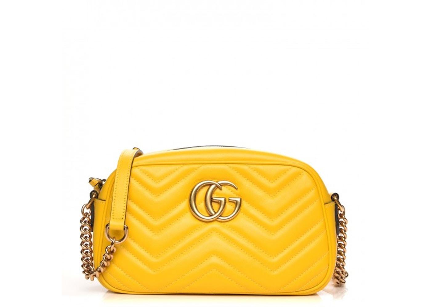 Gucci Marmont Camera Bag Matelasse Gg Small Yellow