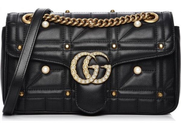 67ccce71ec4 Gucci Marmont Shoulder Matelasse GG Pearl Studded Small Black