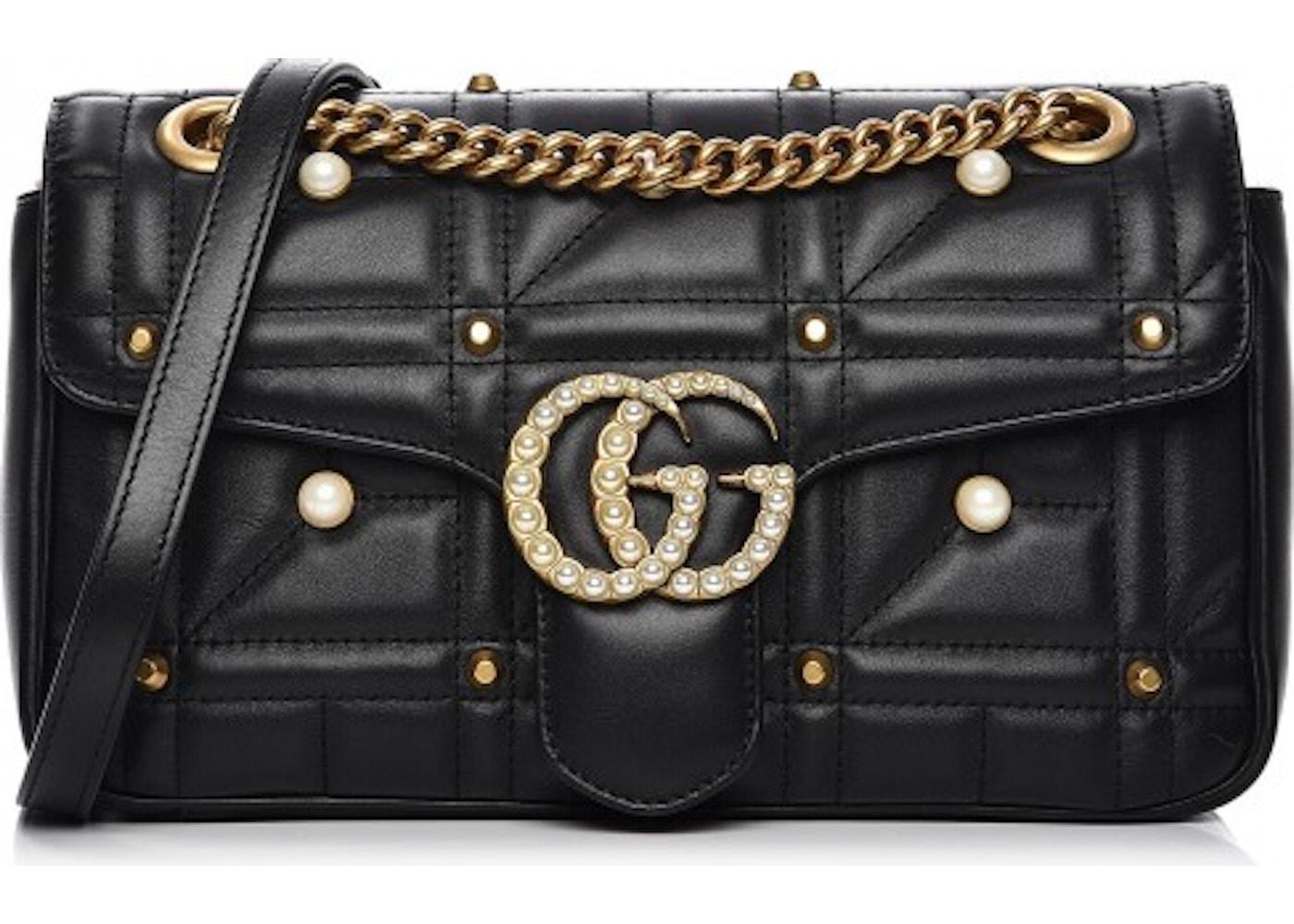 3af0b8cfa Gucci Marmont Shoulder Matelasse GG Pearl Studded Small Black. Matelasse GG  Pearl Studded Small Black