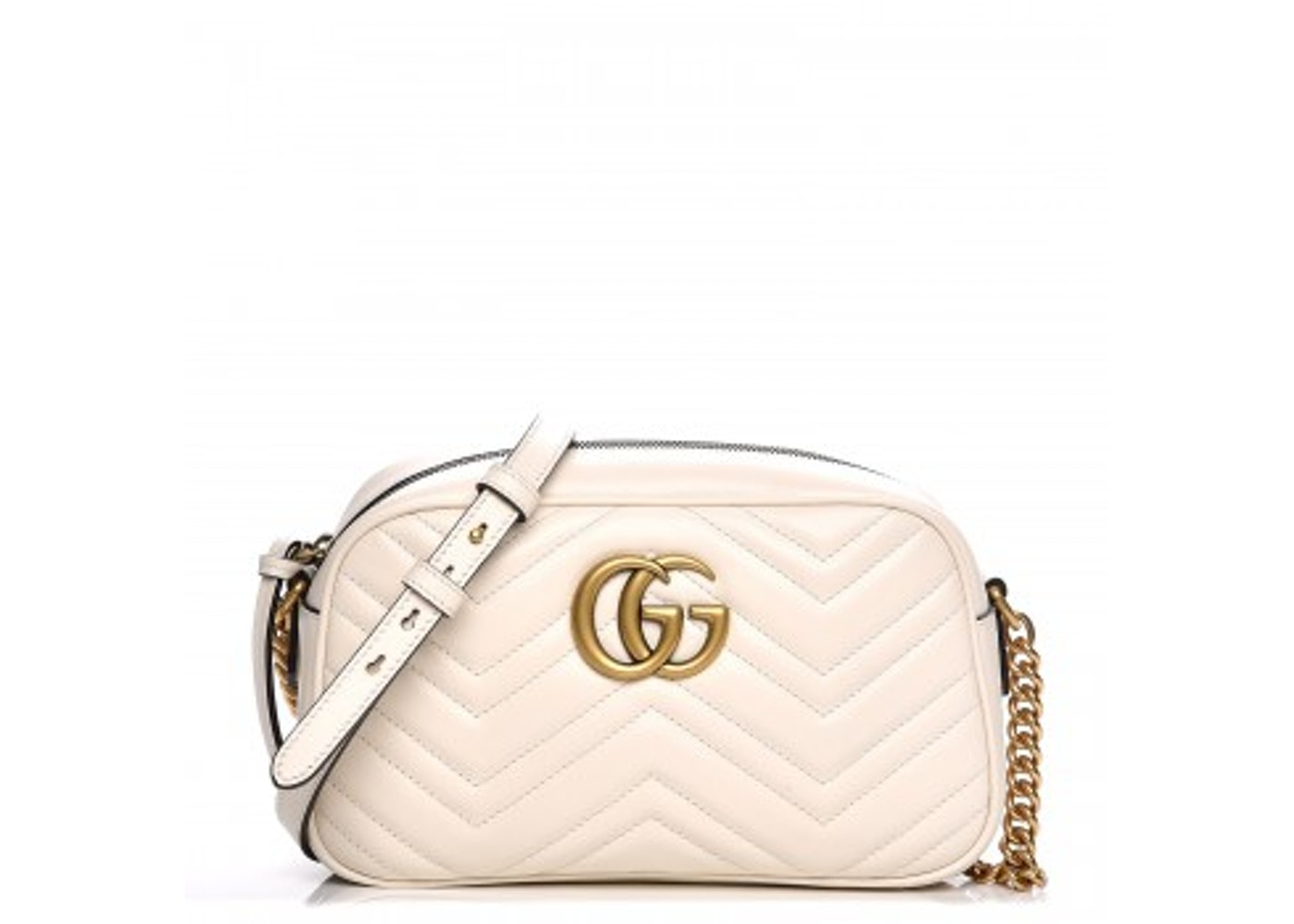 Gucci Gg Marmont Camera Bag Matelasse Small White